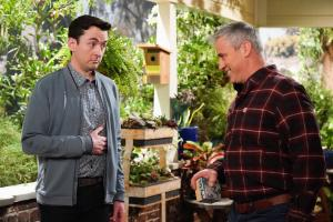 """Cabin Fever"" -- When Adam accidentally invites Andi on the annual guys\' trip, he tries to un-invite her, which only makes matters worse, on MAN WITH A PLAN, Monday, April 22 (8:30-9:00 PM, ET/PT) on the CBS Television Network. Pictured (L-R)  Matt Cook as Lowell and Matt LeBlanc as Adam Burns   Photo: Sonja Flemming/CBS ÿ¿ÿ©2018 CBS Broadcasting, Inc. All Rights Reserved"