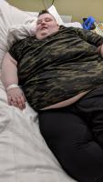 AJ on bed at Nuffield Health- 23 years old, 41 Stone.  Shut Ins: Britians Fattest People Ch4