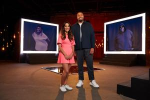 Dr Sara Kayat and Jordan Banjo stand in front of their own before images on set of Lose Weight Like Me.  .Behind on the screen shows the Diet Heros who will support the contributors through their weight loss journeys. .TX: Ch4