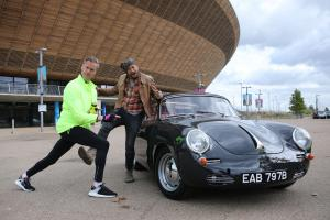 Tim and Fuzz pose with the restored Porsche 365 moments before the reveal. (National Geographic/Renegade Pictures)