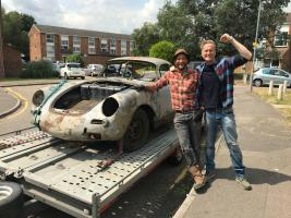 Tim & Fuzz ready for the challenge as they pick up the rusted Porsche 365. (National Geographic/Renegade Pictures)