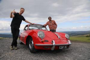 Tim and Fuzz pose with a pristine Porsche 365. (National Geographic/Renegade Pictures)