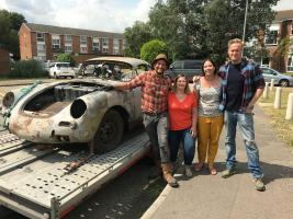 Fuzz, Yvonne, Zora and Tim pack up the rusty old Porsche for the workshop. (National Geographic/Renegade Pictures)