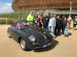 Tim and Fuzz with owner Trevor and his family and friends post-reveal of his newly restored Porsche 365. (National Geographic/Renegade Pictures)