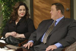 """The Adoption Option"" -- Mike and Molly decide to start the adoption process but an agency visit home could prove costly if the family is viewed as dysfunctional, on MIKE & MOLLY, Monday, May 9 (8:30-9:00 PM, ET/PT) on the CBS Television Network. Pictured L-R: Melissa McCarthy as Molly Flynn and Billy Gardell as Mike Biggs Photo: Hopper Stone/CBS ©2015 CBS Broadcasting, Inc. All Rights Reserved."