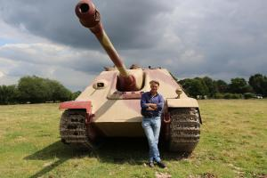 Pictured: James Holland with Jagdpanther Tank