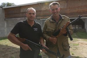 Pictured: Stefan Ko̿rlin & James Holland with STG44 & MP40