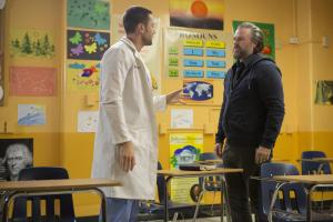 "NEW AMSTERDAM -- ""Pilot"" Episode 101 -- Pictured: (l-r) Ryan Eggold as Dr. Max Goodwin, Tyler Labine as Dr. Iggy Frome -- (Photo by: Francisco Roman/NBC)"