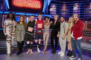 Emma Willis with Mel B and Kem Cetinay with Zac and Jay, Bobby and Harriet, Donna and Verona.