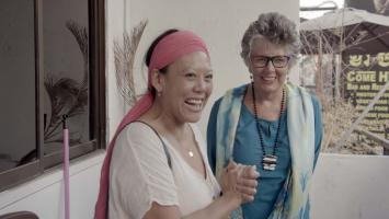 Li-Da Kruger and Prue Leith at Yvette Pierpaoliâ¿¿s former house