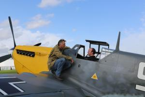 Pictured: James Holland and Richard Grace with Me109 Buchon