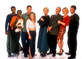 Gallery Photo - Jon Huertas as Brad Alcerro, China Shavers as Dreama, Nate Richert as Harvey, Melissa Joan Hart as Sabrina Spellman, Beth Broderick as Zelda Spellman, Martin Mull as Principal Willard Kraft, Caroline Rhea as Hilda Spellman, David Lascher as Josh.