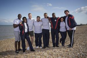 (L-R) Linford Christie, Rachel Adedeji, Greg Rutherford, Alex Brooker, Wes Nelson, Simon Webbe, Sair Khan and James Argent.