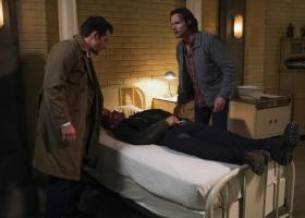 "Supernatural -- ""Ouroboros"" -- Image Number: SN1414A_0197b.jpg -- Pictured (L-R): Misha Collins as Castiel, Jensen Ackles as Dean and Jared Padalecki as Sam -- Photo: Shane Harvey/The CW -- ÿ¿ÿ© 2019 The CW Network, LLC. All Rights Reserved."