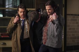 "Supernatural -- ""Ouroboros"" -- Image Number: SN1414A_0271b.jpg -- Pictured (L-R): Misha Collins as Castiel, Jensen Ackles as Dean and Jared Padalecki as Sam -- Photo: Shane Harvey/The CW -- ÿ¿ÿ© 2019 The CW Network, LLC. All Rights Reserved."