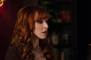 "Supernatural -- ""Absence"" -- Image Number: SN1418a_0243b.jpg -- Pictured: Ruth Connell as Rowena -- Photo: Katie Yu/The CW -- ÿ¿ÿ© 2019 The CW Network, LLC. All Rights Reserved."