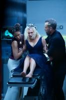 Pictured (L-R): Tattiawna Jones as Simone, Eliza Taylor as Clarke and JR Bourne as Russell VII