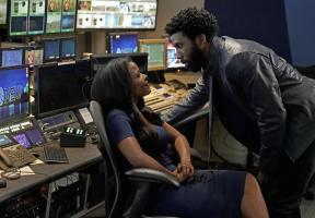 Pictured (l-r): Keesha Sharp as Naomi Nivola; Nyambi Nyambi as Jay Dipersia;