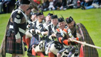 Pictured: Atholl Highlanders, Tug of War.