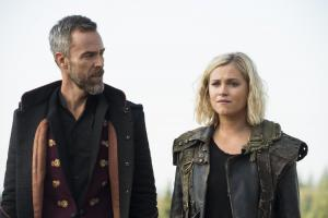 Pictured (L-R): JR Bourne as Russel VII and Eliza Taylor as Clarke