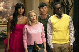 "THE GOOD PLACE -- ""The Snowplow"" Episode 304 -- Pictured: (l-r) Jameela Jamil as Tahani, Kristen Bell as Eleanor Shellstrop, Manny Jacinto as Jason Mendoza, William Jackson Harper as Chidi  -- (Photo by: Colleen Hayes/NBC)"