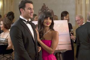 "THE GOOD PLACE -- ""The Snowplow"" Episode 304 -- Pictured: (l-r) Ben Lawson as Larry Hemsworth, Jameela Jamil as Tahani -- (Photo by: Colleen Hayes/NBC)"