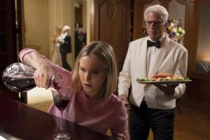 "THE GOOD PLACE -- ""The Snowplow"" Episode 304 -- Pictured: (l-r) Kristen Bell as Eleanor Shellstrop, Ted Danson as Michael -- (Photo by: Colleen Hayes/NBC)"