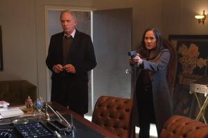 Pictured: John Getz as Benjamin Cahill, Sakina Jaffrey as Denise Christopher