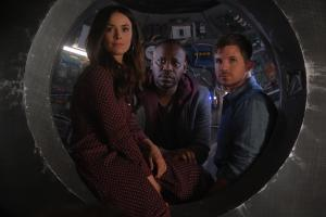 Pictured:  Abigail Spencer as Lucy Preston, Malcolm Barrett as Rufus Carlin, Matt Lanter as Wyatt Logan